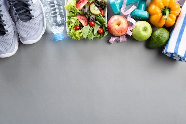 Gesundes lebensstil-, lebensmittel- und sportkonzept