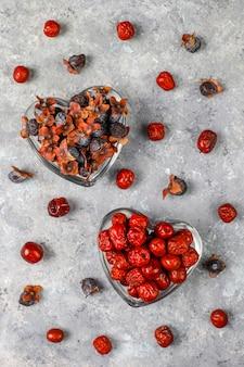 Gesundes sortiment trockenfrüchte