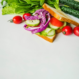 Gesundes vegetarisches sandwich mit purpurrotem kohl und gurke