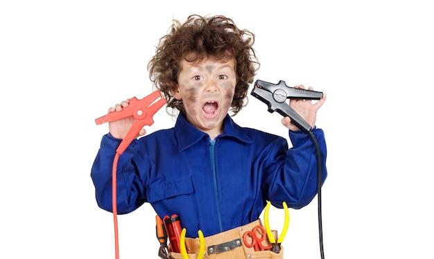 Gesundheits- und sicherheitsprävention bei der arbeit, kind getrennt über weiß