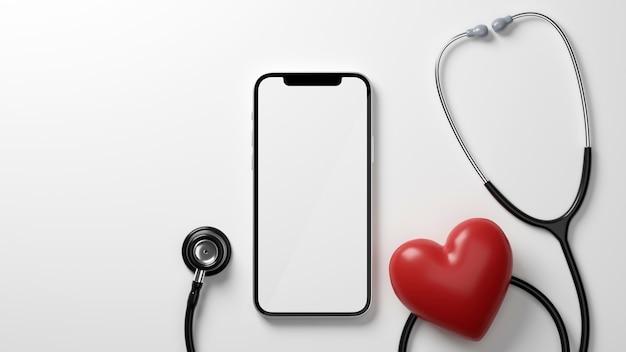 Gesundheitswesen checkup-anwendung smartphone leerer bildschirm mockup stethoskop rotes herz 3d-rendering