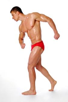 Gesundheitswesen. starker und hervorragender männlicher nackter körper.