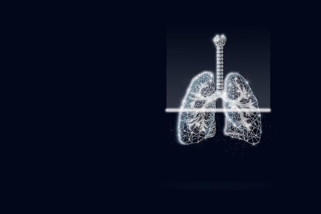 Gesundheitswesen und medizin, covid-19, scannen virtueller menschlicher lungen auf dunkelblauem hintergrund