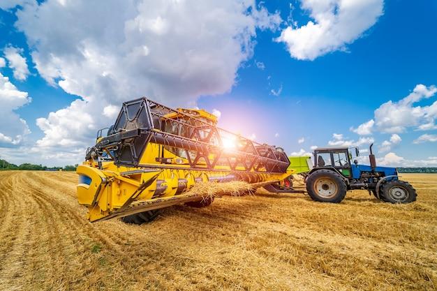 Getreideernte mähdrescher an einem sonnigen tag. gelbes feld mit korn. landtechnik arbeitet im feld.