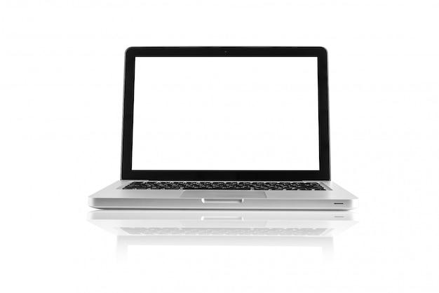 Getrennter computerdesktop auf weißem hintergrund