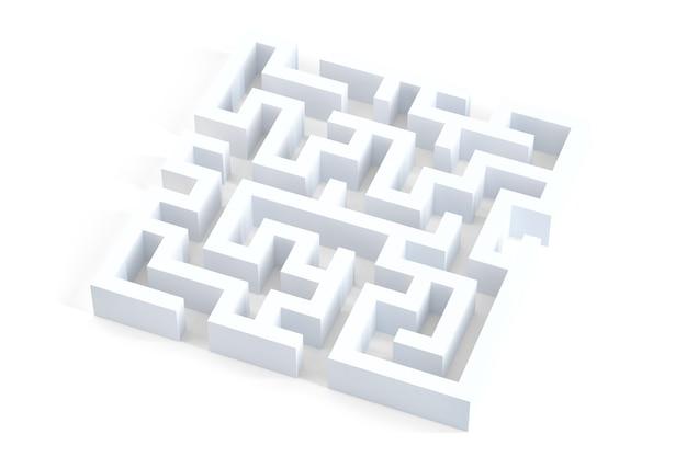 Getrenntes weißes labyrinth 3d. enthält beschneidungspfad.