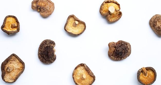 Getrocknete shiitake-pilze. draufsicht