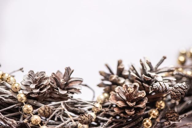 Getrocknete tannenzapfen winter natürliche grenze