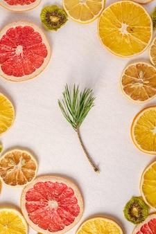 Getrocknete zitrusfruchtscheiben mit tannenzweig