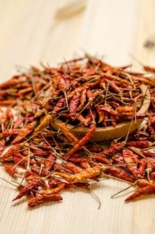 Getrockneter paprikapfefferhintergrund. thailändisches essen gewürz.