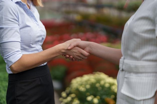 Gewächshausbesitzer präsentiert einem potenziellen kundenhändler blumenoptionen.