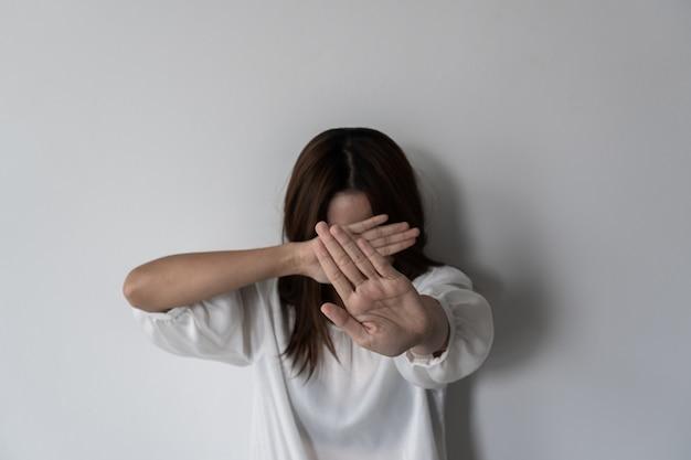 Gewalt gegen frauen und kinder, häusliche gewalt gegen, stop sexual missbrauchskonzept.
