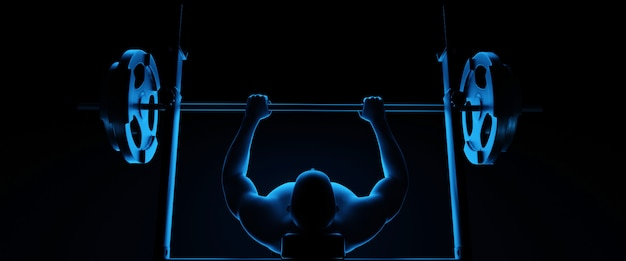 Gewichtheber beim bankdrücken. abbildung 3d