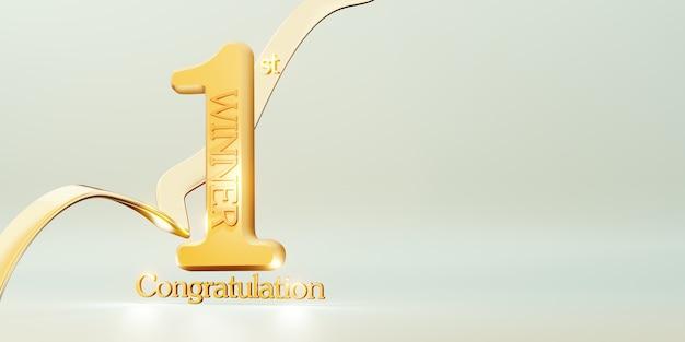 Gewinnertexthintergrund 1. platz sieg und glückwunschnachricht 3d-illustration