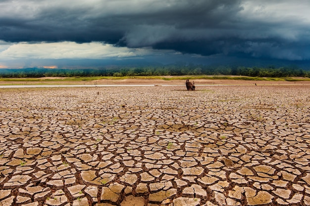 Gewitter am himmel und rissiges trockenes land ohne wasser