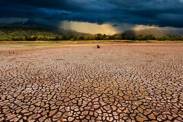 Gewitterwolken und rissiges trockenes land