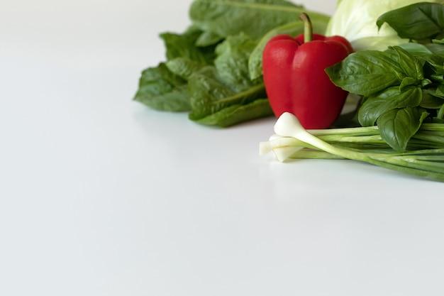 Gewürze und gemüse zum kochen und gesundheit auf weiß