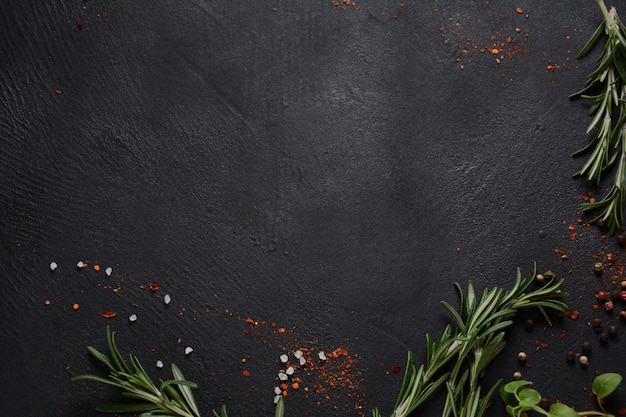 Gewürze und kräuter auf dunklem steinhintergrund