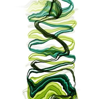 Gezeichnete aquarell- oder alkoholtinte des sommers abstrakte hand in den grünen tönen. trendiger stil. perfekt für die polygraphie. raster-darstellung.
