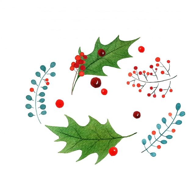 Gezeichnete grußkarte des aquarells der frohen weihnachten hand.