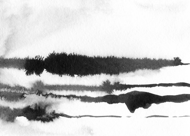 Gezeichnete illustration der abstrakten landschaftstinte. schwarzweiss-tintenwinterlandschaft mit fluss. minimalistische hand gezeichnet