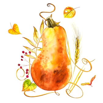 Gezeichnete illustration des aquarells hand des kürbises mit farbe spritzt. orangen essen. orange kürbise des frischen aquarells der kunst lokalisiert auf dem weiß.