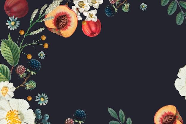 Gezeichnete illustration des botanischen blumenrahmenhintergrundes der weinlese hand