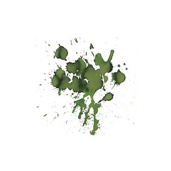 Gezeichneter hintergrund der grünen farbaquarellspritzen-zusammenfassungshand.