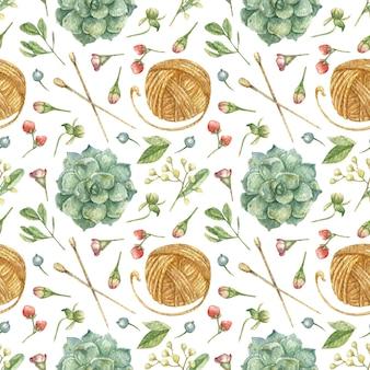 Gezeichneter hintergrund von elementen der handarbeit stricken orange kugel des fadenstricknadels garnblumen kräuter saftig