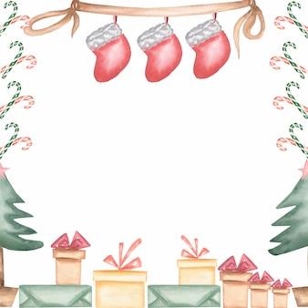 Gezeichneter rahmen des aquarells hand weihnachten und des neuen jahres lokalisiert auf weißem hintergrund.