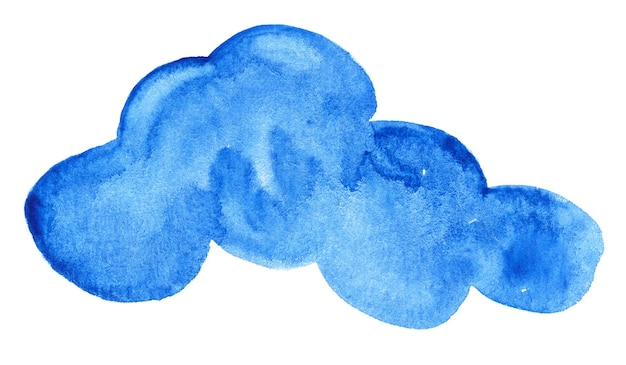 Gezeichnetes abstraktes aquarell der blauen wolke hand auf weißem hintergrund
