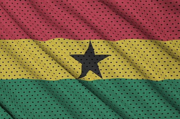 Ghana-flagge auf einem sportswear-netzgewebe aus polyester-nylon