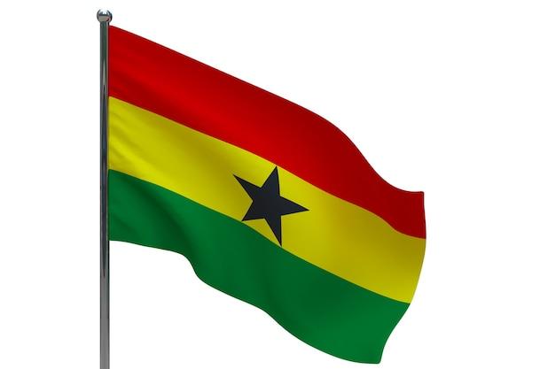 Ghana flagge auf pole. fahnenmast aus metall. nationalflagge von ghana 3d-illustration auf weiß