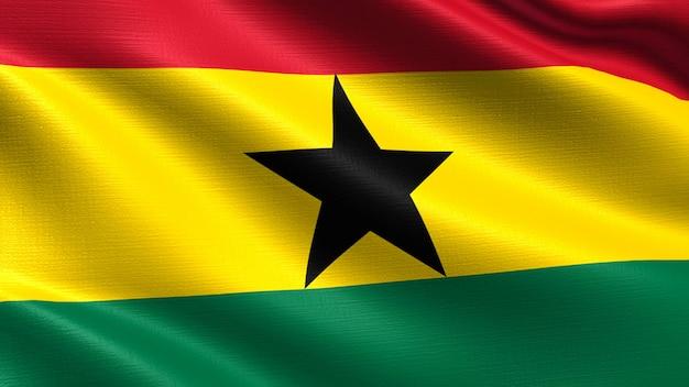 Ghana-flagge, mit wellenartig bewegender gewebebeschaffenheit