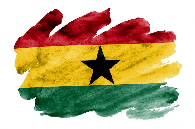 Ghana-flagge wird in der flüssigen aquarellart dargestellt, die auf weiß lokalisiert wird
