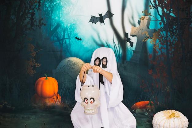 Ghost witz schädel korb