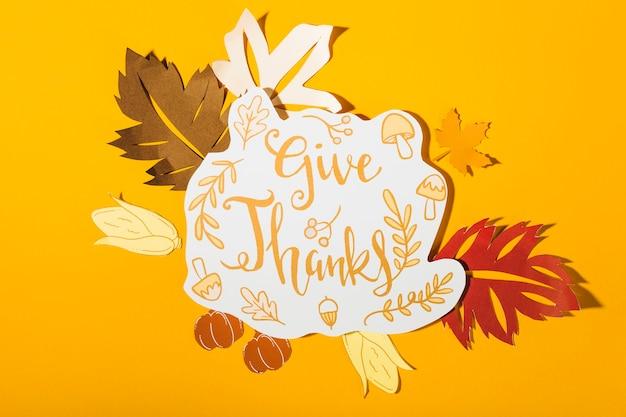 Gib dankeschriftung auf gelbem hintergrund