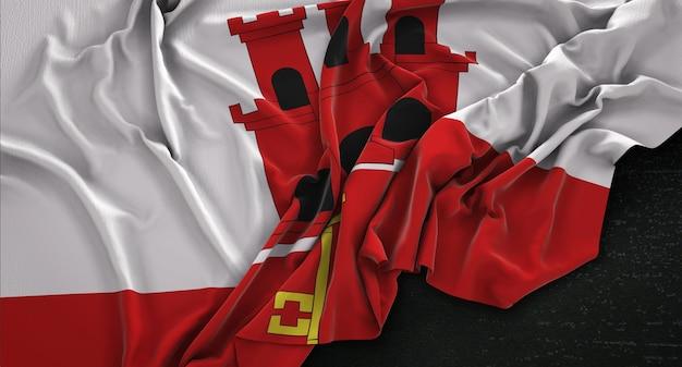 Gibraltar-flagge, die auf dunklem hintergrund verstreut ist 3d render