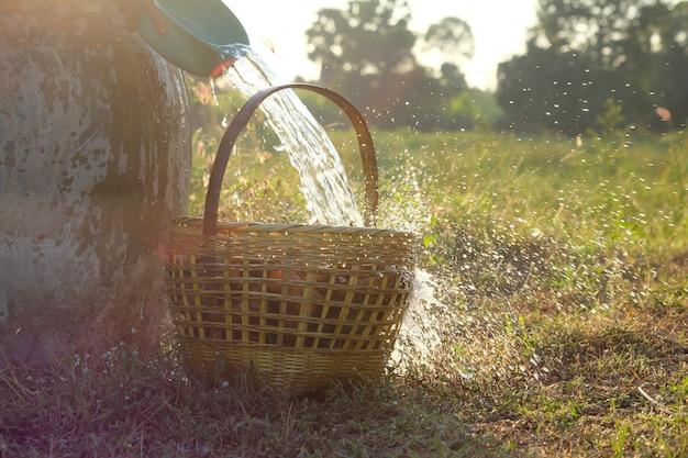 Gießen sie das wasser aus der schüssel in den korb einer heißen mahlzeit schnell schön bespritzt. während des sonnenuntergangs landschaft auf dem feld.