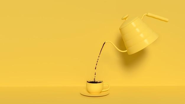Gießen sie schwarzen kaffee aus dem wasserkocher