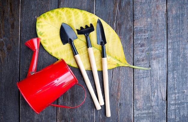 Gießkanne und gartengeräte werkzeug zum anpflanzen von bäumen setzen auf blatt auf dunkelbraun woo
