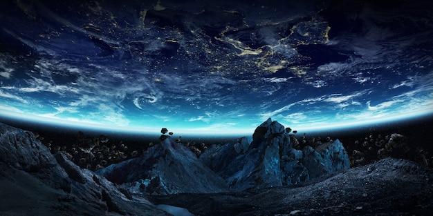 Gigantische asteroiden zum absturz bringen 3d-rendering der erde