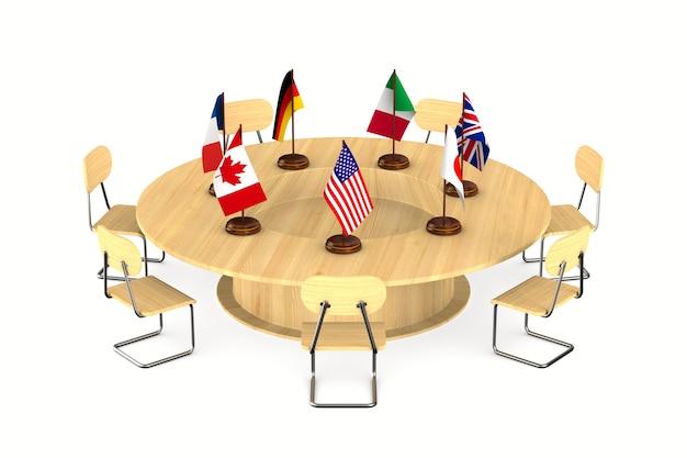 Gipfeltreffen der g7-länder auf weißem hintergrund. isolierte 3d-darstellung