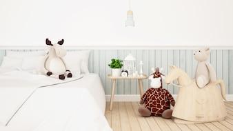 Giraffe mit Ren- und Bärnpuppe im Kinderraum oder im Schlafzimmer