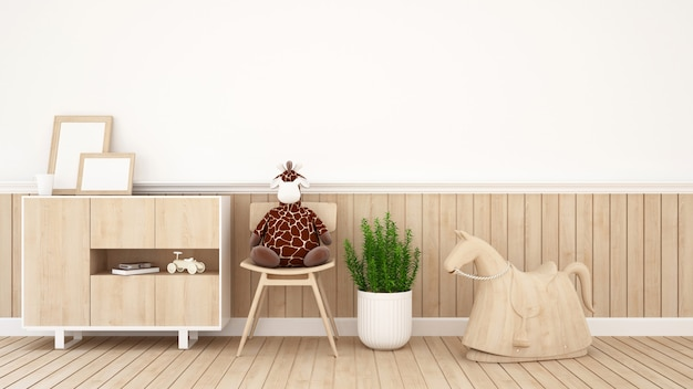 Giraffenpuppe auf stuhl im kinderraum oder in der kaffeestube - wiedergabe 3d