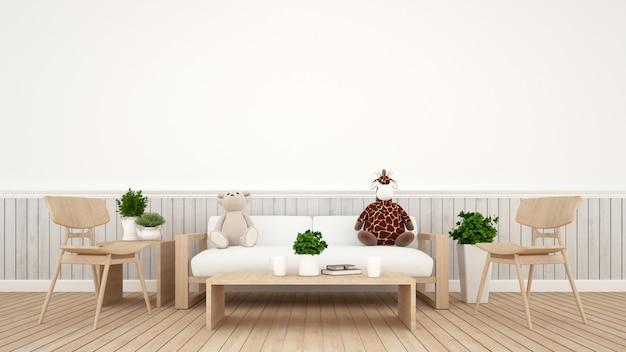 Giraffenpuppe mit bärenpuppe im wohnzimmer oder im kinderraum - wiedergabe 3d