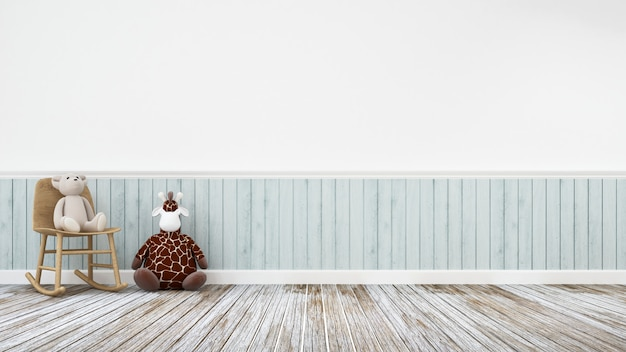 Giraffenpuppe und -teddybär in der hölzernen dekoration - wiedergabe 3d