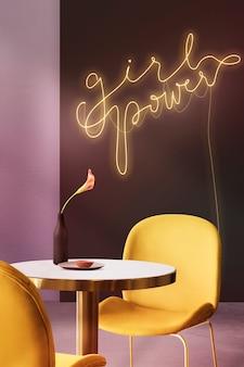 Girl power leuchtreklame im authentischen café