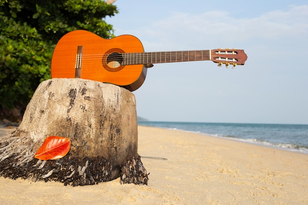 Gitarre am sandstrand im schönen sommer