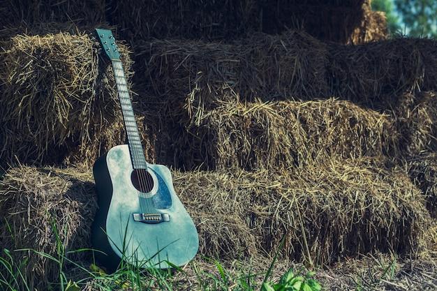 Gitarre auf grünem gras steht auf einem stumpf still
